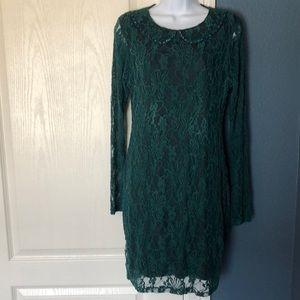 MISSONY Lace Embellished Collar Long Sleeve Dress